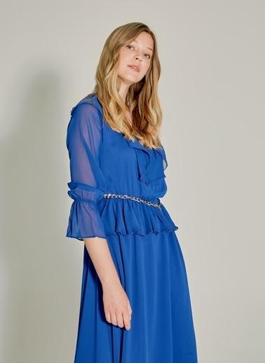 NGSTYLE Volan Detaylı Midi Elbise Saks